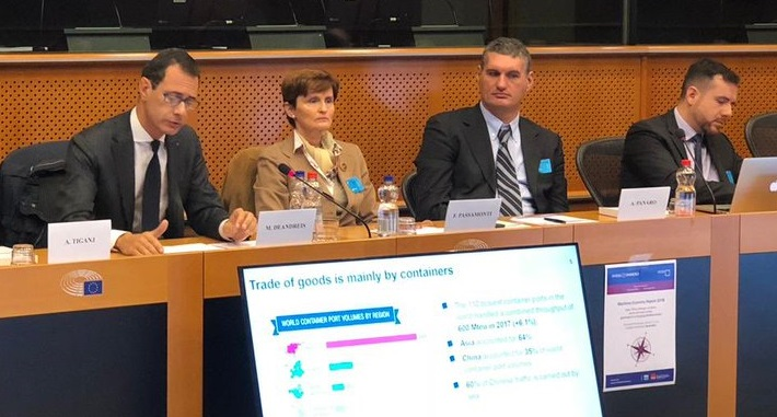 S.R.M. – the Economic Research Center – and Intesa Sanpaolo presented the 2018 Report on the Maritime Economy at the European Parliament